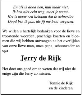 Bedankkaartje mbt overlijden Jerry de Rijk